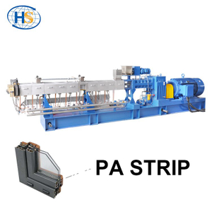 PA66 + 25% GF Plastic Pellets Making Twin Screw Extruder for Insulation Strip